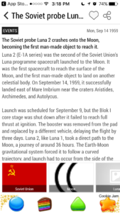 This Day In History App - Luna 2 Story