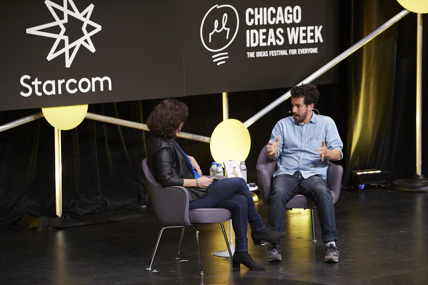 "Eli Hotowitz on Stage at ""Future of Storytelling."" - Photo Courtesy Chicago Ideas"